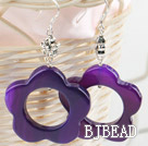 flower shape purple color agate earrings