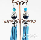 lovely blue agate fashion earrings with tassels