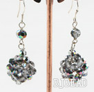 dangling colorful crystal ball earrings