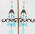 blue jade drop shape crystal earring