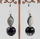faceted purple agate and black lip shell earrings