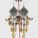 chandelier shape vintage style three color jade earrings