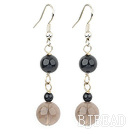 black agate and smoky quartz dangle earrings