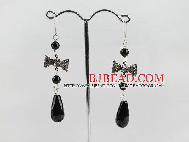 black agate earrings with butterfly shape rhinestone charm