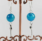 dangling style 12mm faceted blue agate sea shell beads earrings