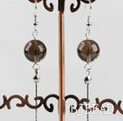 dangling style 12mm faceted smoky quartze beads earrings