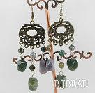 chandelier shape vintage style Indian agate stone earrings