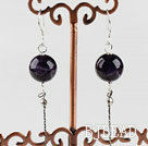 dangling style 12mm natural amethyst ball earrings