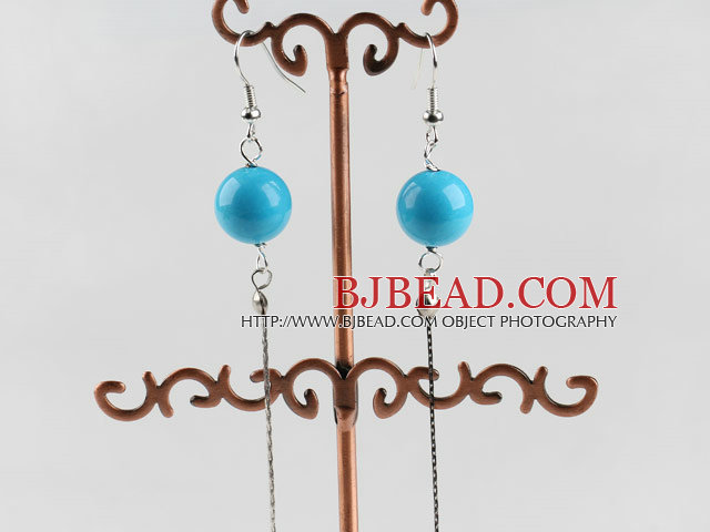 dangling style 12mm blue turquoise ball earrings