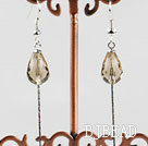 dangling style drop shape champagne color crystal earrings