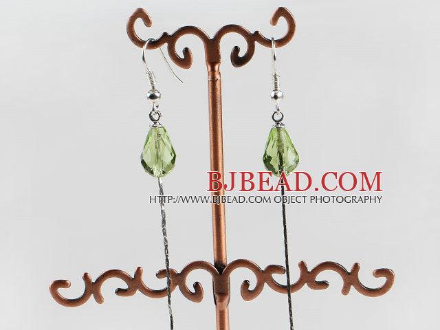 dangling style drop shape green color crystal earrings