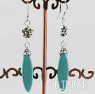 leaf shape turquoise earrings with tibet silver flower charm under $ 40