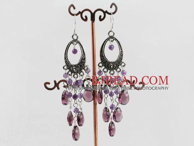chandelier shape vintage style amethyst drop earrings