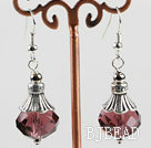 10*14mm faceted wine red crystal earrings with tibet silver charm under $ 40