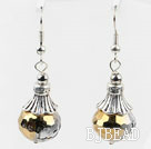 10*14mm faceted black crystal earrings with tibet silver charm