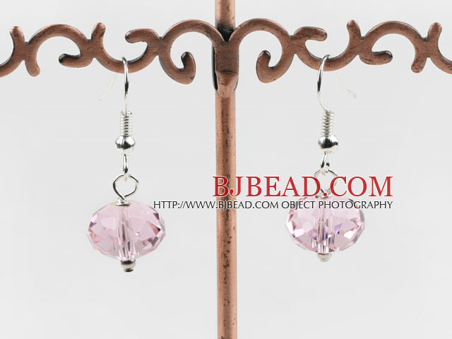 12mm faceted pink color crystal earrings