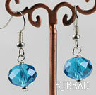 12mm faceted sea blue blue crystal earrings under $ 40