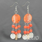 New Design Pink Coral and Shell Dangle Earrings