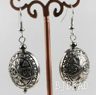 vogue jewelry silver like earrings with engraved print