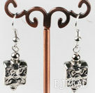 CCB silver like fashion earrings with engraved print