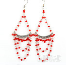 Big style red manmade crystal fashion earrings