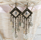 vintage style gray crystal dangle earrings