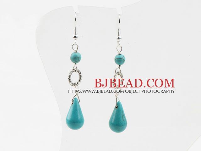 hot design drop shape turquoise dangle earrings