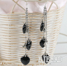 3 strand heart shape black agate dangle long earrings