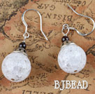 small cute white popcorn crystal ball earrings under $ 40