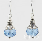 pretty light sea blue color crystal ball earrings under $ 40