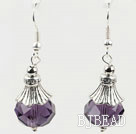 pretty purple color crystal ball earrings