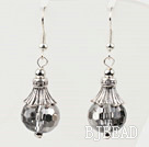 pretty shinning gray color crystal ball earrings under $ 40
