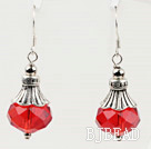 pretty red pink crystal ball earrings