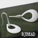 fashion style drop shape big white lip shell earrings