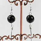 dangling style 12mm faceted black agate ball earrings