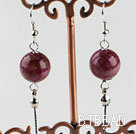 dangling style 12mm faceted red spider stone ball earrings under $ 40