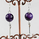 dangling style 12mm faceted purple agate ball earrings under $ 40