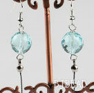 dangling style 12mm faceted kyanite ball earrings