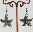 lovely starfish charm  tibet silver earrings