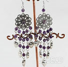 classical style chandelier shape amethyst earrings with heart charm