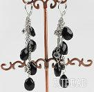 dangliing style drop shape black crystal earrings