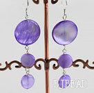 cute style purple disc shape shell earrings