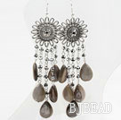 New Design Gray Crystal and Shell Long Style Earrings under $ 40