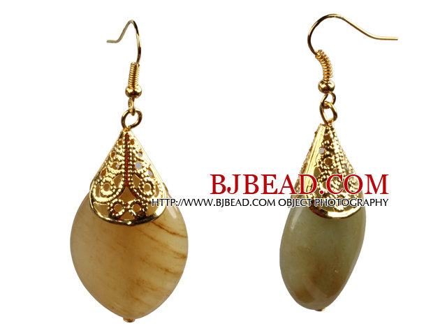 Simple Fashion Style Eye Shape Three Colored Jade Golden Color Hook Earrings