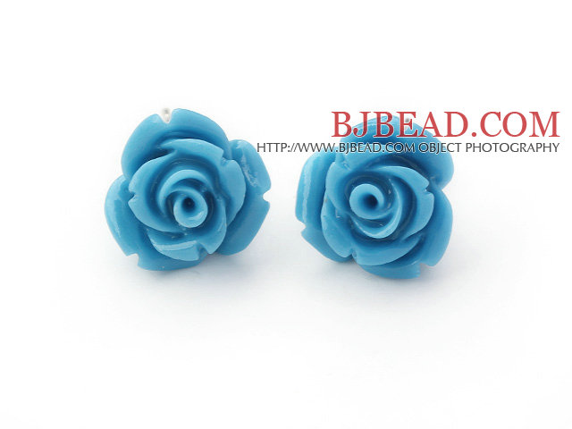 turquoise color rose studs