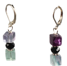 Summer Style Cube Shape Rainbow Fluorite Dangle Earrings With Lever Back Hook