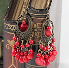 blood stone coral earring
