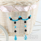 turquoise black agate earrings