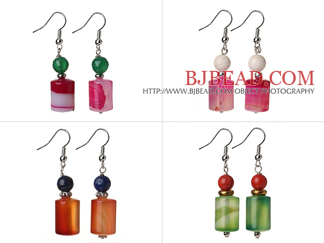4 Pcs Summer Fashion Multi Color Cylinder Shape Agate Earrings
