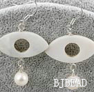 seashell beads and white pearl earrings